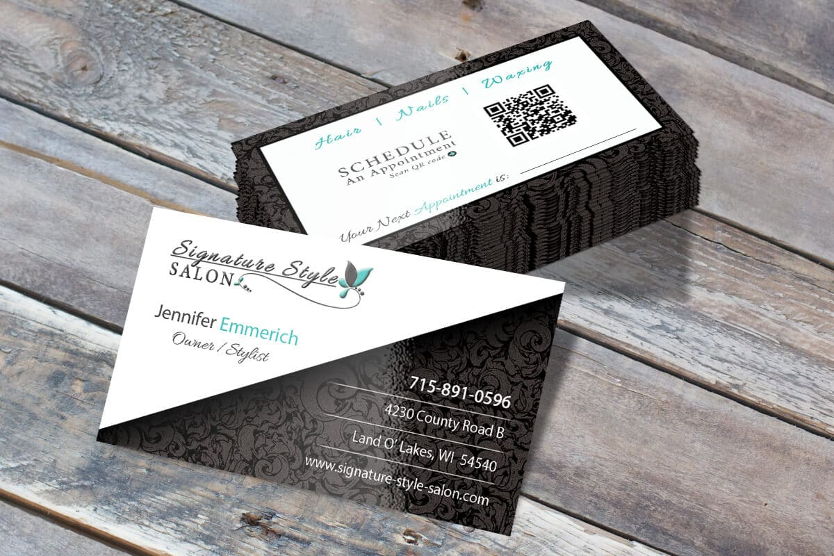 Web design branding signature style salon land o lakes wi business card design signature style salon land o lakes wi reheart Gallery