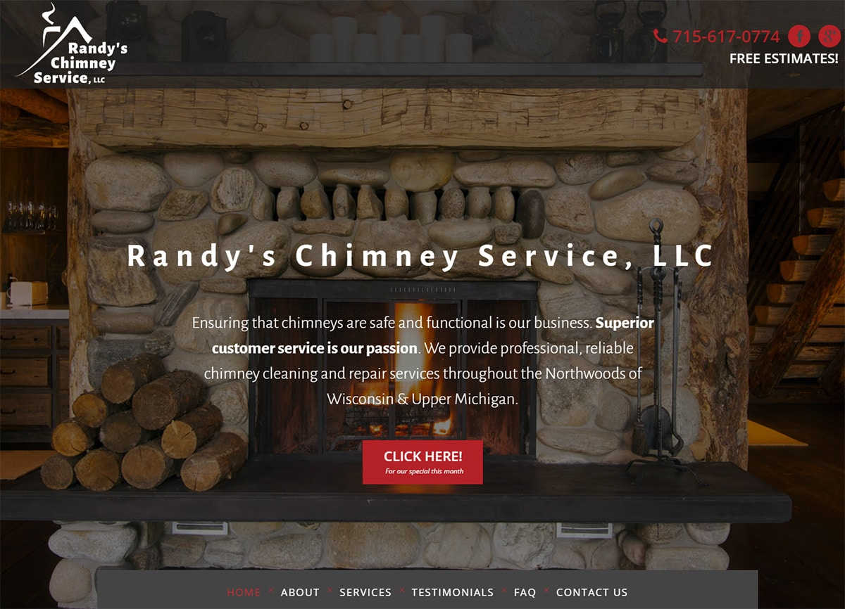 Responsive Website Design | Randy's Chimney Service | Conover, WI