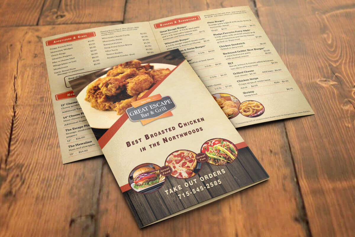 Menu Design | Great Escape Bar & Grill | Phelps, WI