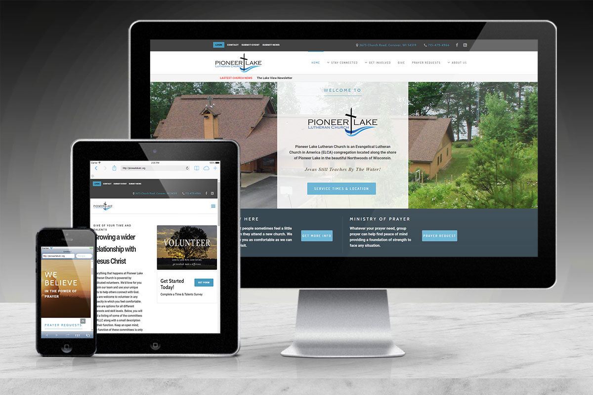 Responsive Website Design | Pioneer Lake Church | Conover, WI