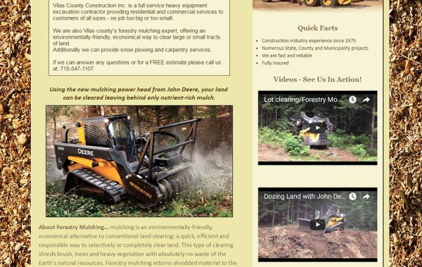 Web Design | Vilas County Construction | Vilas County