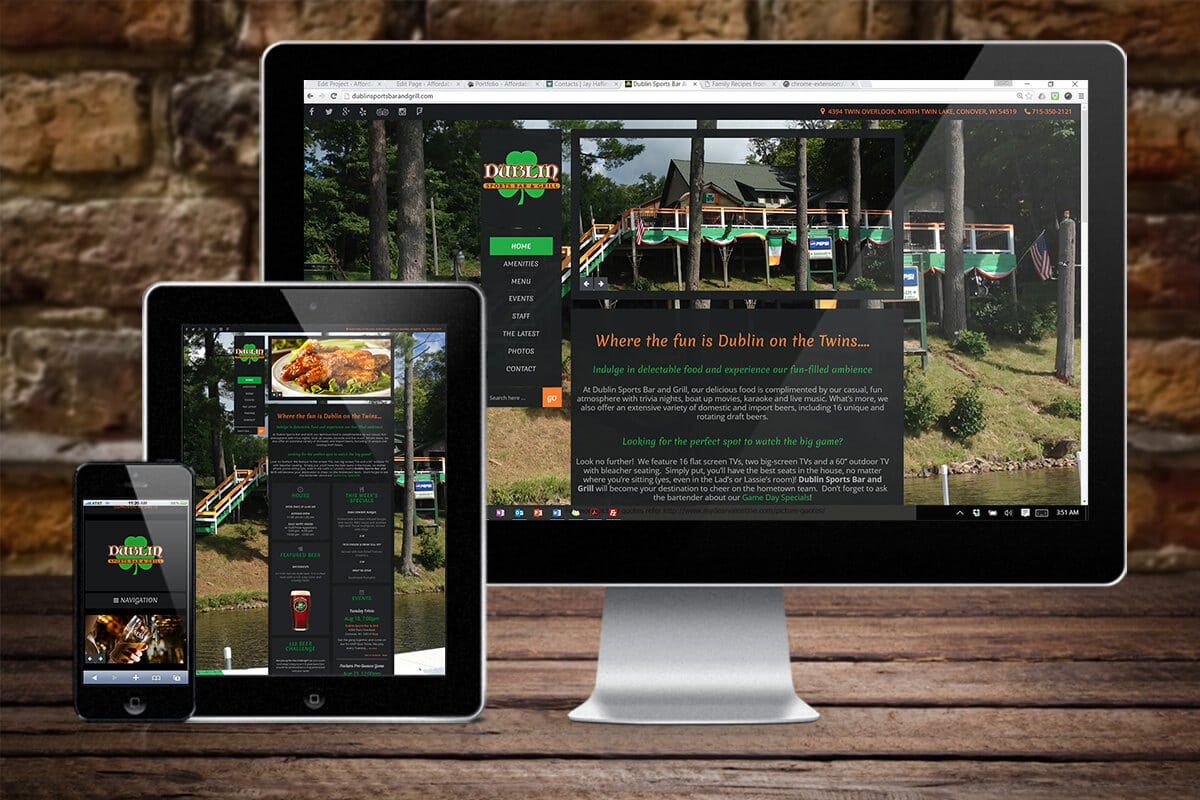 Responsive Website Design | Dublin Sports Bar | Conover, WI